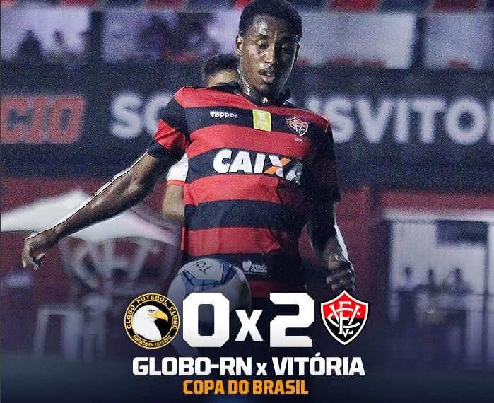 Vitória bate o Globo-RN com dois gols de Denílson e avança de fase na Copa do Brasil 1