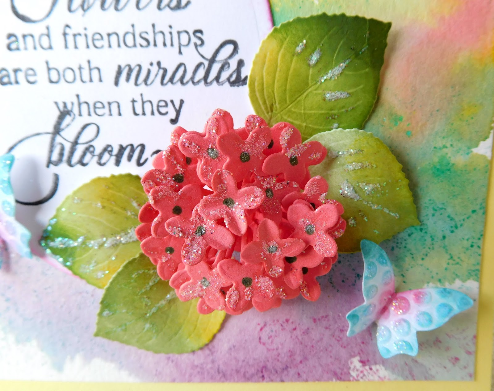 Flowers and friendships by belinda sparkle n sprinkle this beautiful hydrangea flowers was die cut using the spellbinders die sparkle was added to the leaves using the glue pen and sparkling snow glitter izmirmasajfo