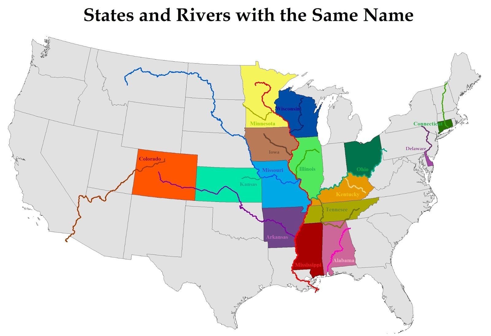 States & Rivers with the Same Name
