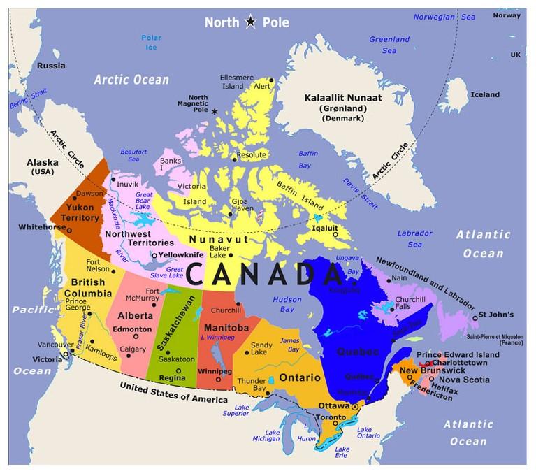Mapa Canada Con Nombres