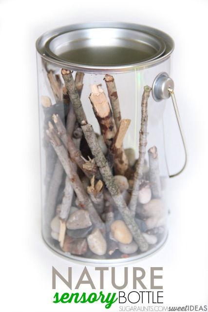 Try this calming nature sensory bottle for proprioceptive and auditory sensory input using nature items from your own backyard! Kids will love to help make it while working on fine motor skills.
