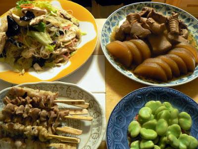 夕食の献立 献立レシピ 飽きない献立 もうかざめアラ煮 具だくさん中華春雨 焼き鳥とソラマメ