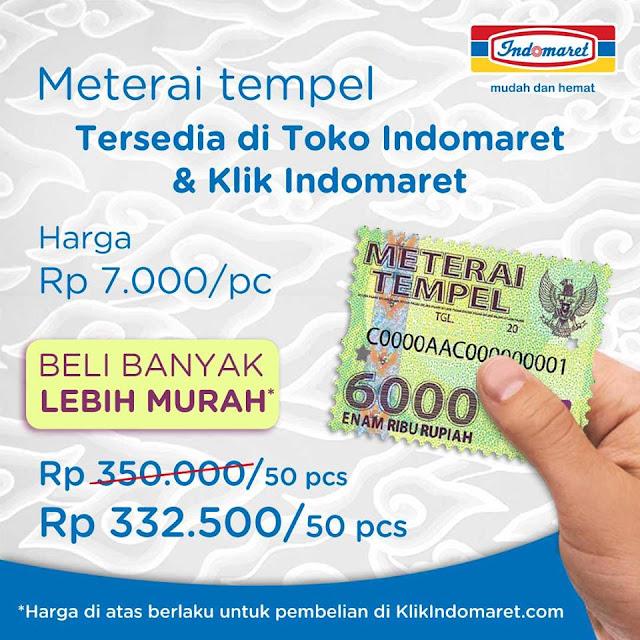 Sekarang Materai Tempel 6000 hanya Rp 7.000/pc