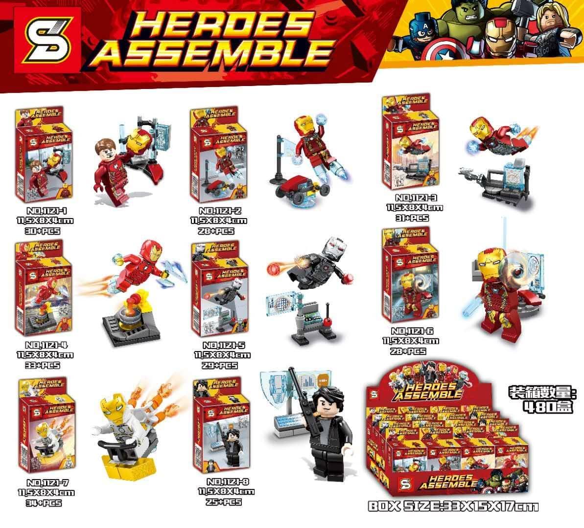 Sheng Yuan 1121: Set of 8 Various Iron Man Minifigs Preview