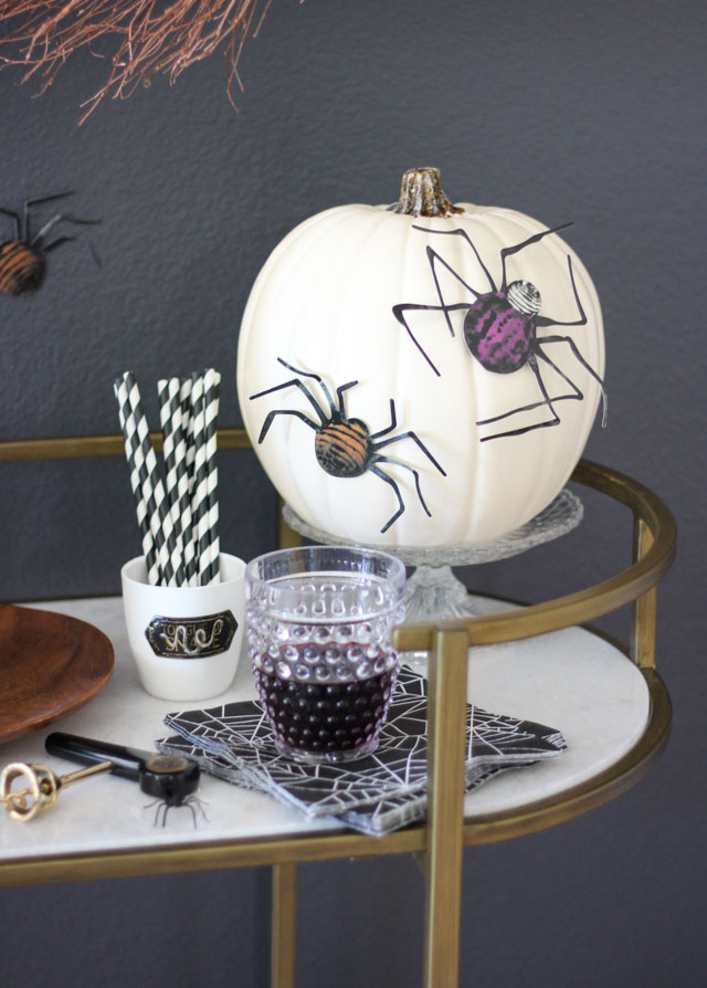 Spider decorated pumpkin with Martha Stewart Crafts