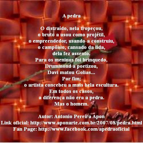 Poema, A Pedra, de Antonio Pereira Apon. #PraCegoVer