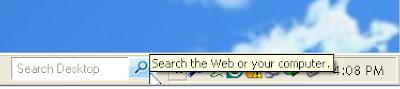 Deskbar Search Box Besides Taskbar Notification Area