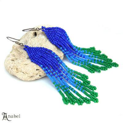 Сине-зелёные серьги из бисера купить украшения ручной работы