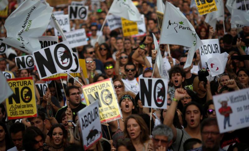 Manifestação anti-touradas em Espanha
