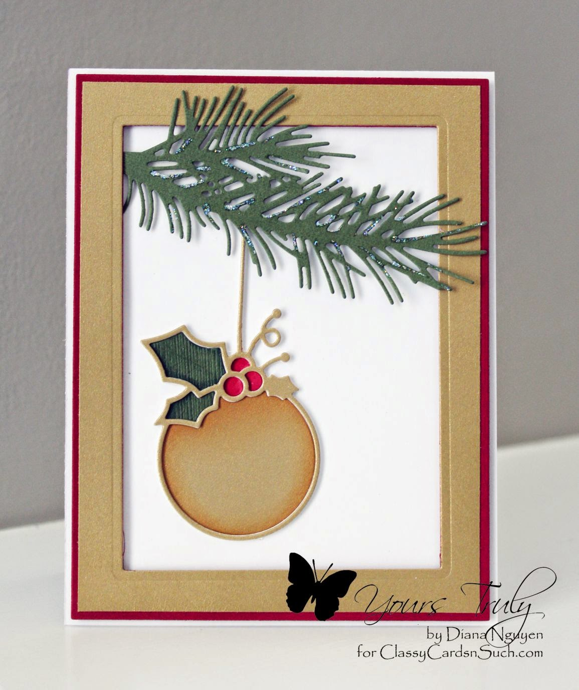 Diana Nguyen, Christmas card, Memory Box, calibri ornament