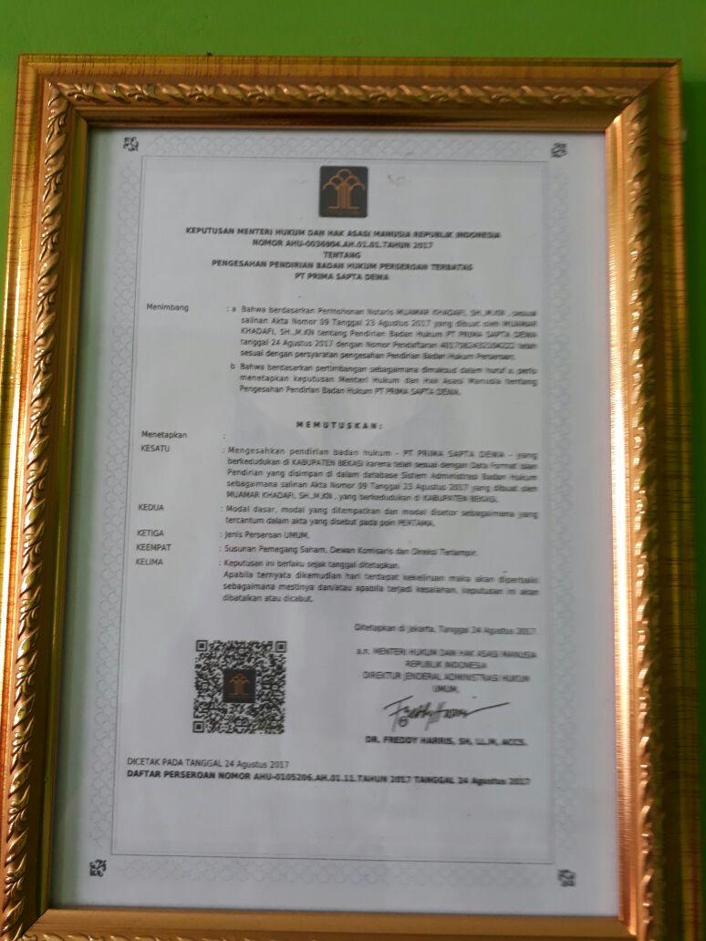 Profil Perusahaan PT PRIMA SAPTA DEWA