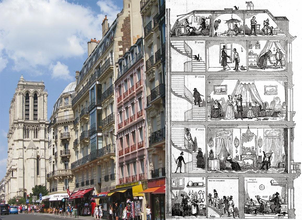 Les cinq étages du monde parisien dans un immeuble des boulevards, gravure de Jacques-Adrien Lavieille (1853) © Roger-Viollet