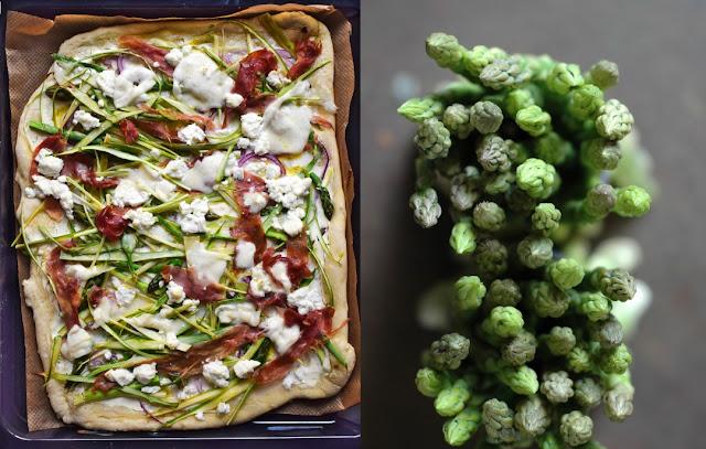 Pizza mit gruenem Spargel