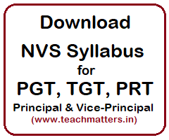 image : NVS Syllabus for PGT TGT PRT & Principal @ TeachMatters