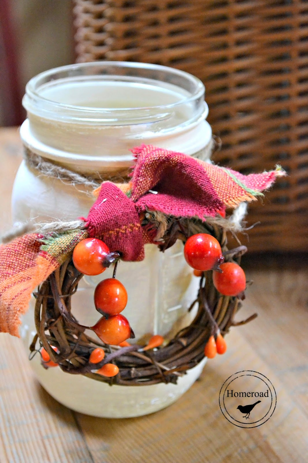 painted mason jar with wreath