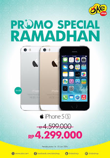 Harga Spesial iPhone 5s baru Rp 4.299.000 (16 GB) di OkeShop