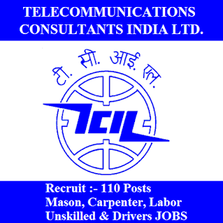 Telecommunications Consultants India Limited, TCIL, A Government of India Enterprise, New Delhi, 10th, Mason, Carpenter, Labor, Driver, freejobalert, Sarkari Naukri, Latest Jobs, tcil logo