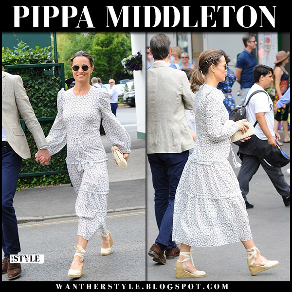 Pippa Middleton in tiered midi dress anna mason and wedge sandals wimbledon fashion july 13
