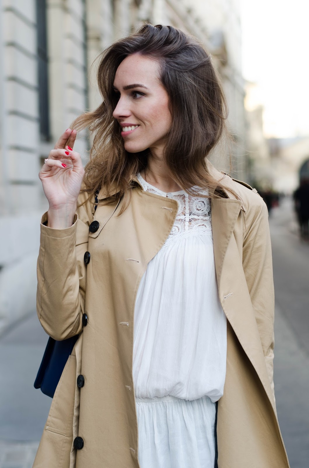 kristjaana mere beige trench coat white top