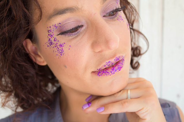 Monday Shadow Challenge : Mauve & Paillettes :)