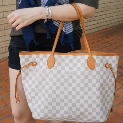 Louis Vuitton mm damier azur tote with black denim shorts and olive tee | away from the blue