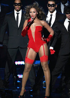 Beyonce Knowles flaming in red lingerie
