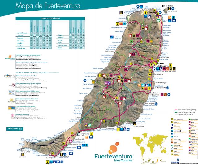 Mapa de pueblos de Fuerteventura