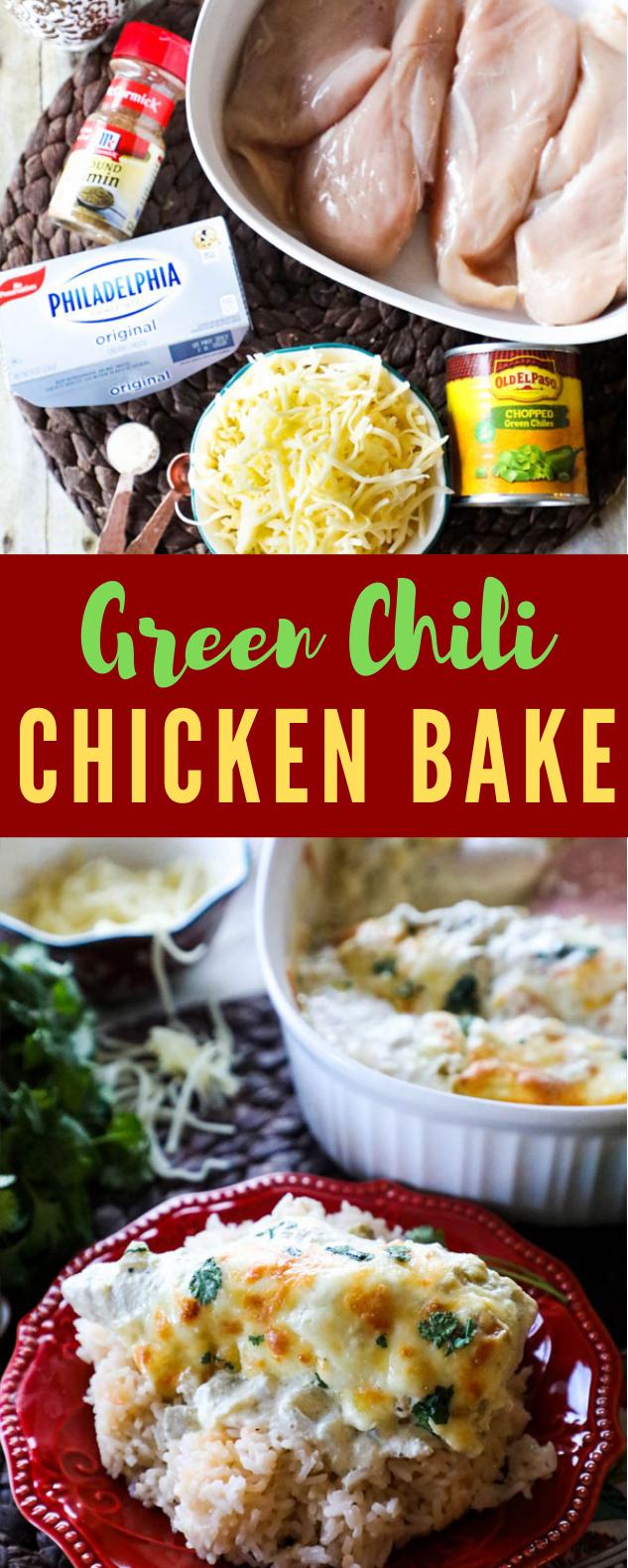GREEN CHILI CHICKEN BAKE RECIPE #Dinner #Crockpot