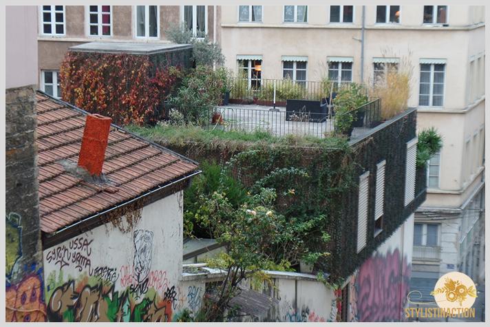 una terraza que es un oasis en la ciudad, basamento con graffiti súper urbano y una ultima planta con un jardin vertical increible