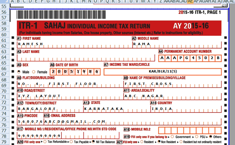 itr 1 sahaj in excel for ay 2015 16 with auto fill function for