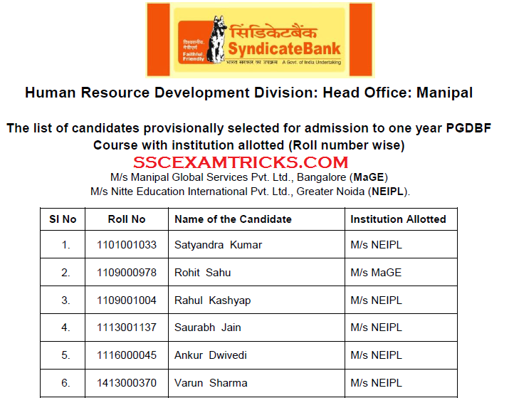 SYNDICATE BANK 2015 INTERVIEW RESULT