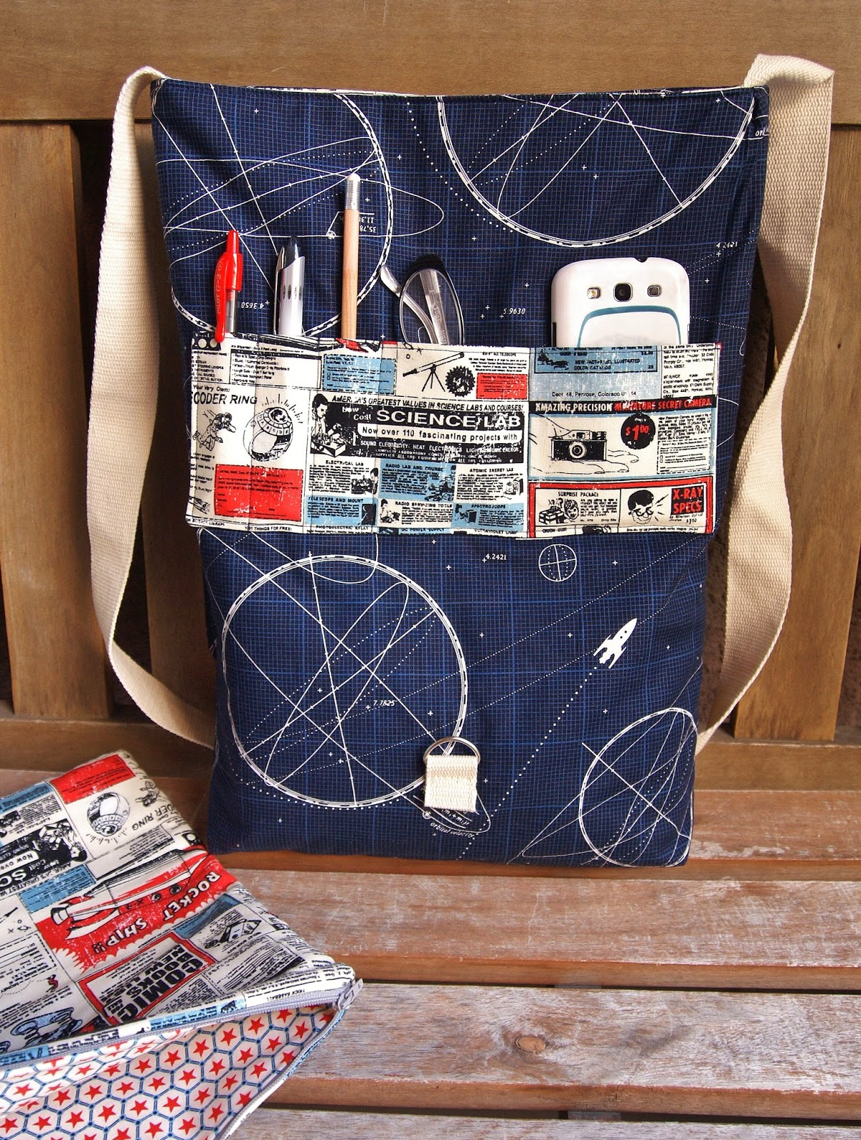 Riley Blake Fabrics Rocket Age Laptop Bag by Fabric Mutt