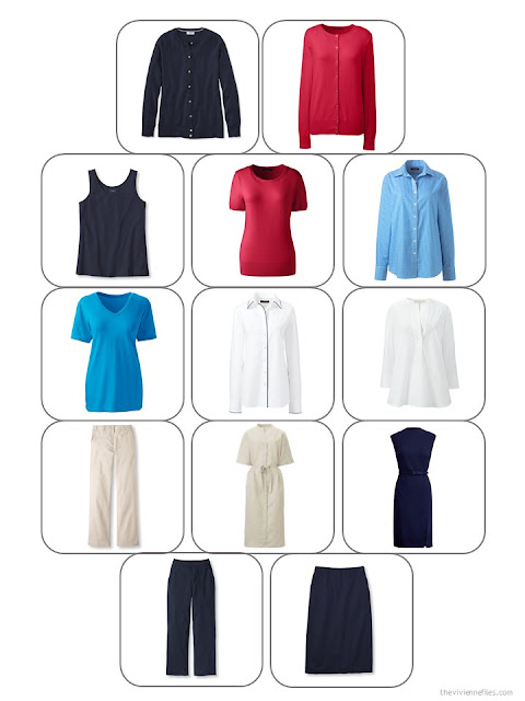 13-piece business warm weather capsule wardrobe in navy, beige, red, white and bright sky blue
