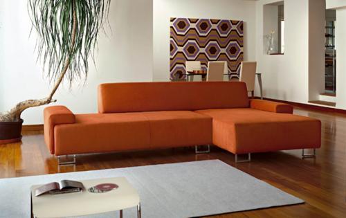 Salas en color naranja y marr n colores en casa for Decoracion con color naranja
