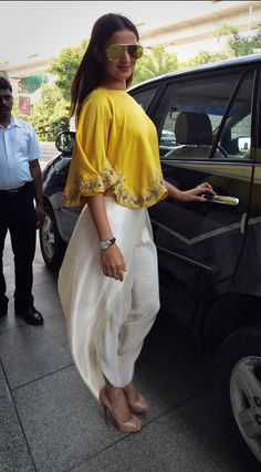 Sonal Chauhan Wearing Jayanti Reddy in Yellow Poncho and White Dhoti Pants