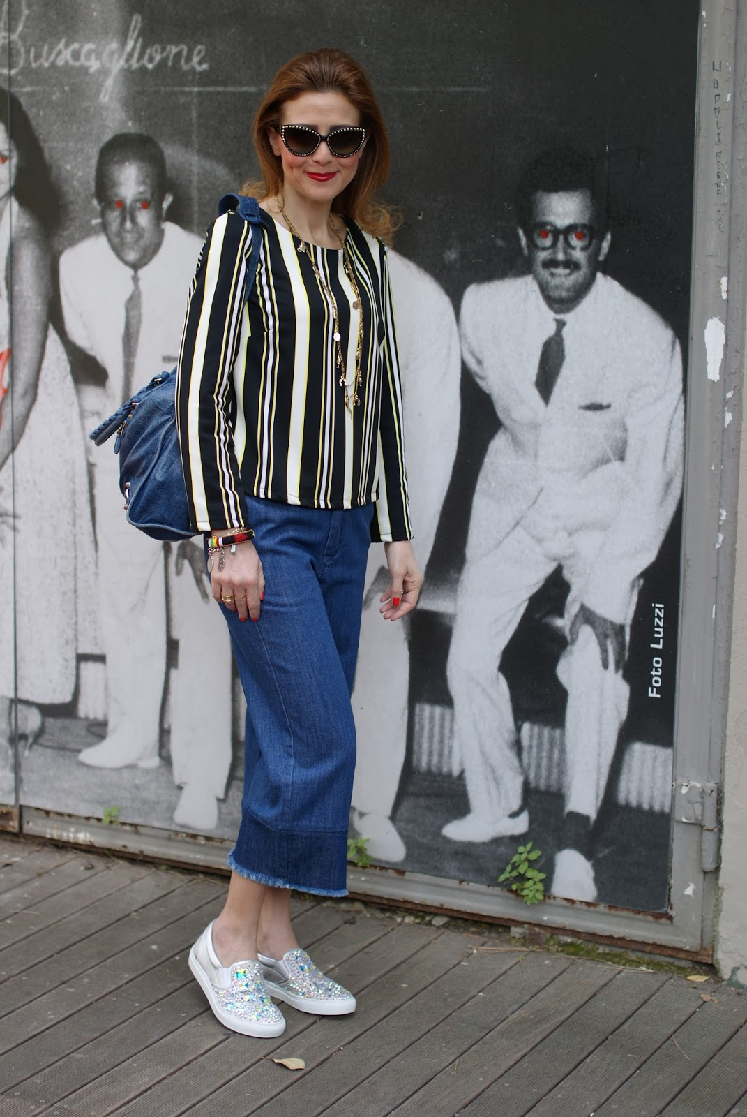 denim culotte pants and striped blouse with Le Silla silver jeweled slip-ons on Fashion and Cookies fashion blog, fashion blogger style