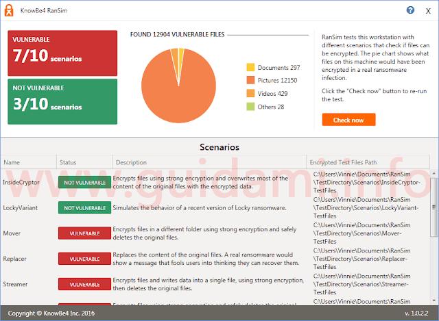 RanSim schermata risultati simulazione attacco ransomware