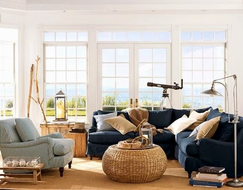 Indoor Outdoor Coastal Nautical Living Room Decor Ideas