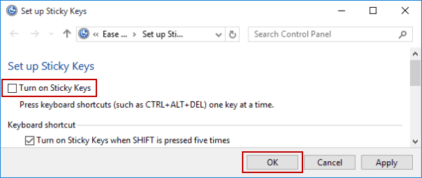 How to Turn On and Off Sticky Keys in Windows 10