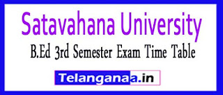 Satavahana University B.Ed 3rd Semester Exam Time Table 2017