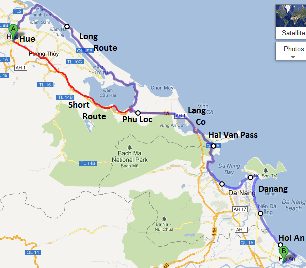Da Nang to Hue by Car - Travel central Vietnam Da-nang-to-hue-Map