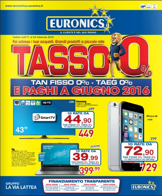 Volantino Euronics La Via Lattea - Febbraio 2016 - Ultimo - Nuovo 11-24 febbraio