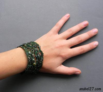 купить украшения в стиле бохо. зеленый лесной браслет анабель