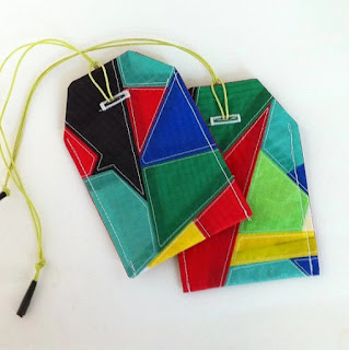 off chutes etsy luggage tag colorful and recycled parachutes