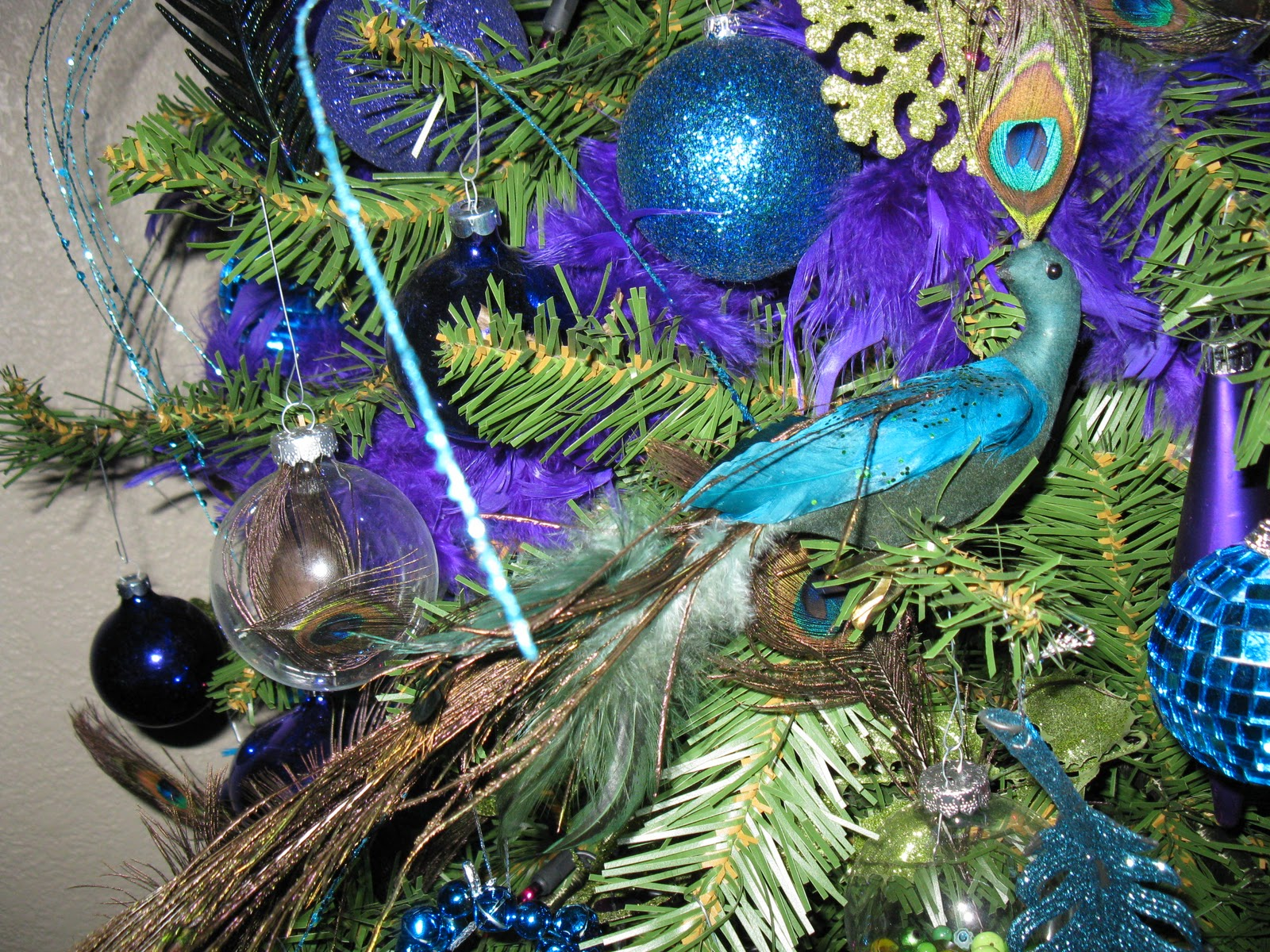 Christmas Tree Decorated With Feathers