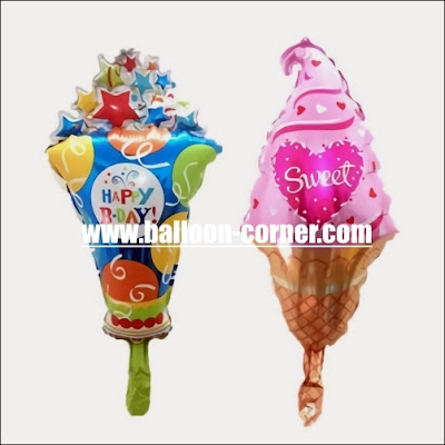Balon Foil Happy Bday & Sweet Valentine Ice Cream Mini