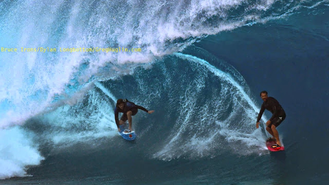 Bruce Irons and Dylan Longbottom at Teahupoo