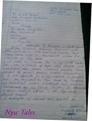 NYSC Relocation and redeployment letter sample