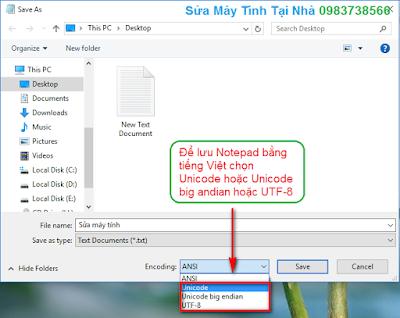 Cách lưu file Notepad bằng tiếng Việt - H03