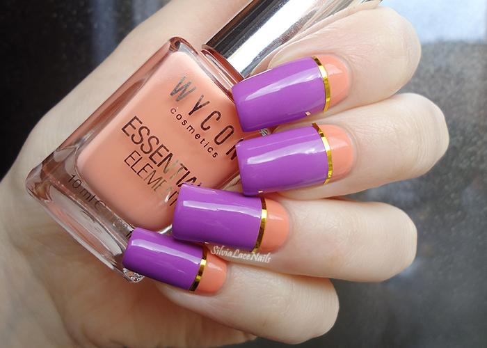 Silvia Lace Nails Peach And Purple Color Block Nail Art